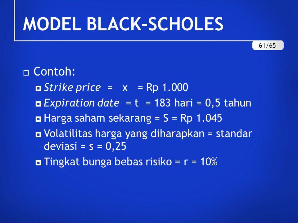  Contoh:  Strike price = x = Rp 1.000  Expiration date = t = 183 hari = 0,5 tahun  Harga saham sekarang = S = Rp 1.045  Volatilitas harga yang diharapkan = standar deviasi = s = 0,25  Tingkat bunga bebas risiko = r = 10% MODEL BLACK-SCHOLES 61/65