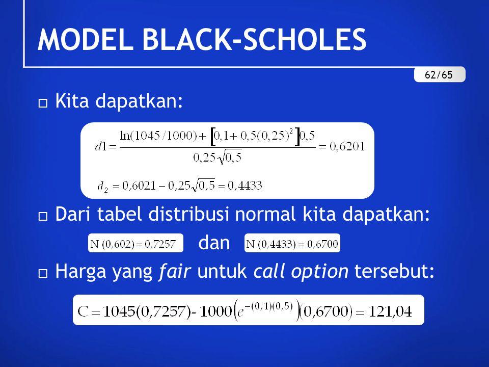  Kita dapatkan:  Dari tabel distribusi normal kita dapatkan: dan  Harga yang fair untuk call option tersebut: MODEL BLACK-SCHOLES 62/65