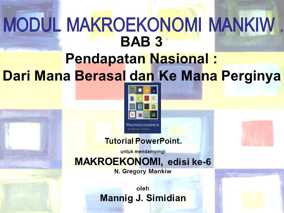 1 Chapter Three ® BAB 3 Pendapatan Nasional : Dari Mana Berasal dan Ke Mana Perginya Tutorial PowerPoint  untuk mendampingi MAKROEKONOMI, edisi ke-6