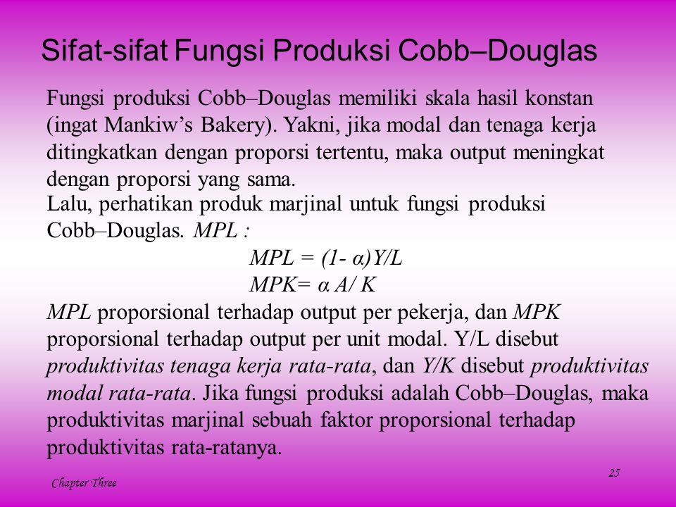 25 Chapter Three Sifat-sifat Fungsi Produksi Cobb–Douglas Fungsi produksi Cobb–Douglas memiliki skala hasil konstan (ingat Mankiw's Bakery). Yakni, ji