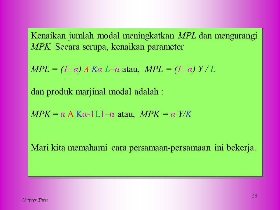 26 Chapter Three Kenaikan jumlah modal meningkatkan MPL dan mengurangi MPK. Secara serupa, kenaikan parameter MPL = (1- α) A Kα L–α atau, MPL = (1- α)
