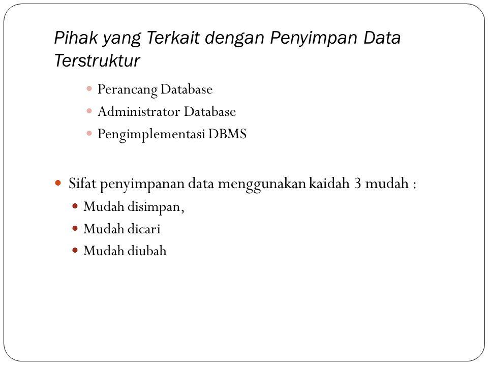 Pihak yang Terkait dengan Penyimpan Data Terstruktur  Perancang Database  Administrator Database  Pengimplementasi DBMS  Sifat penyimpanan data me