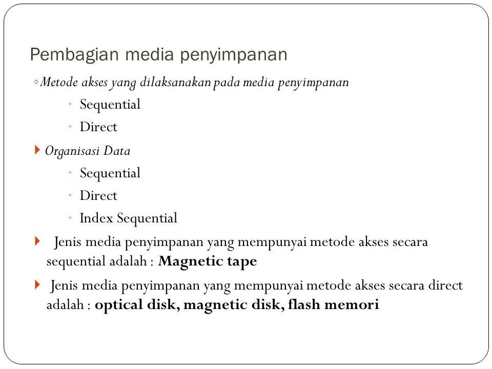 Pembagian media penyimpanan ◦ Metode akses yang dilaksanakan pada media penyimpanan  Sequential  Direct  Organisasi Data  Sequential  Direct  In