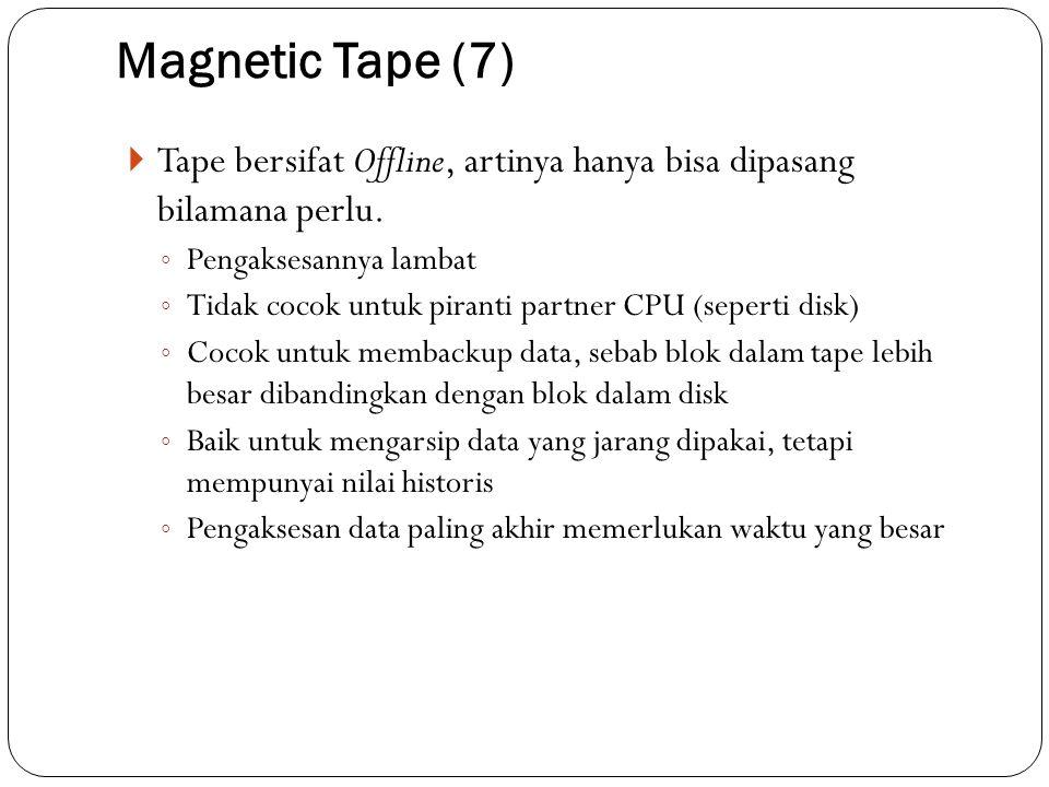 Magnetic Tape (7)  Tape bersifat Offline, artinya hanya bisa dipasang bilamana perlu. ◦ Pengaksesannya lambat ◦ Tidak cocok untuk piranti partner CPU