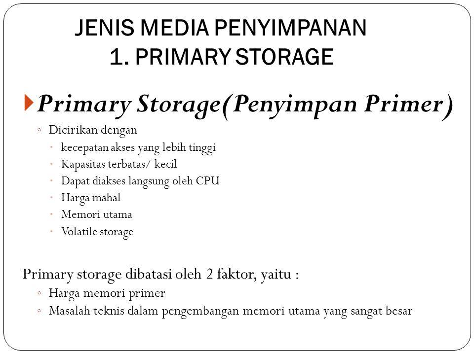 JENIS MEDIA PENYIMPANAN 1. PRIMARY STORAGE  Primary Storage(Penyimpan Primer) ◦ Dicirikan dengan  kecepatan akses yang lebih tinggi  Kapasitas terb
