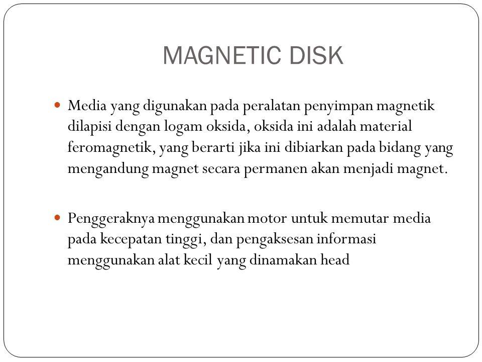 MAGNETIC DISK  Media yang digunakan pada peralatan penyimpan magnetik dilapisi dengan logam oksida, oksida ini adalah material feromagnetik, yang ber