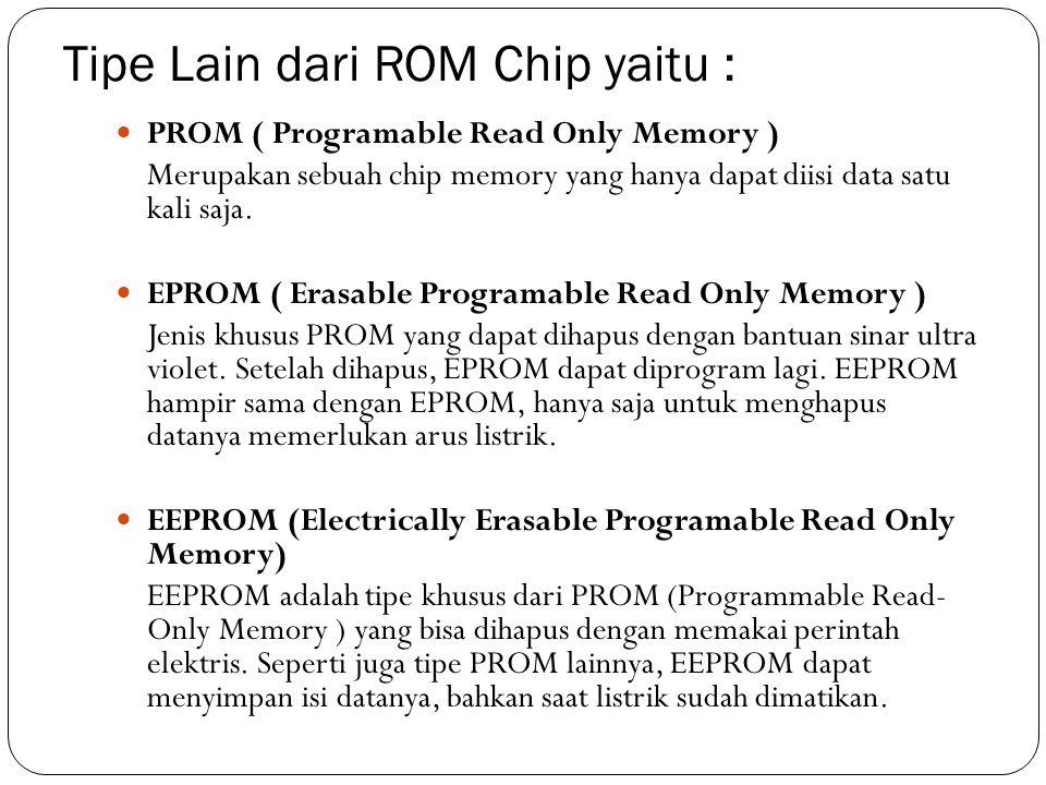 Tipe Lain dari ROM Chip yaitu :  PROM ( Programable Read Only Memory ) Merupakan sebuah chip memory yang hanya dapat diisi data satu kali saja.  EPR