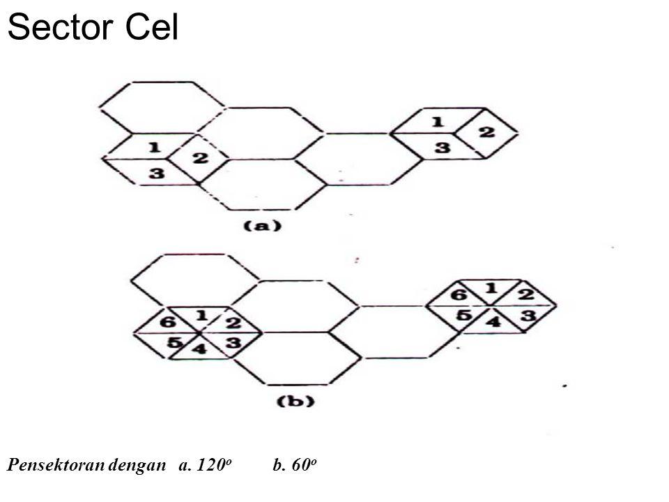 Jarak minimum antar sel yang diperbolehkan pemakaian frekwensi yang sama pada sel lain sangat dipengaruhi oleh beberapa hal sbb: 1.jumlah co-channel sel yang diperkenakan 2.bentuk geografis permukaan 3.tinggi antena 4.daya yang dipancarkan oleh BS