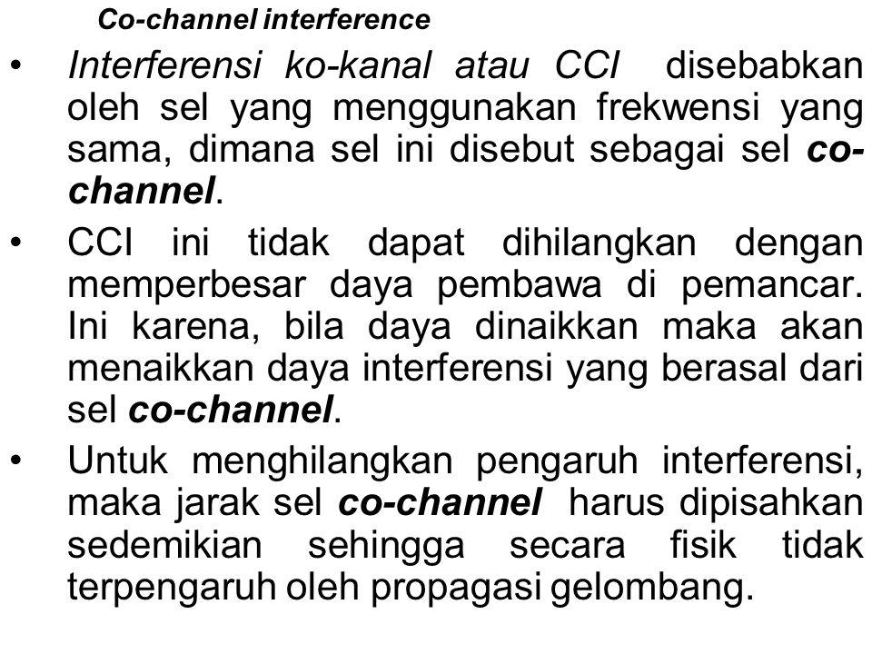Co-channel interference •Interferensi ko-kanal atau CCI disebabkan oleh sel yang menggunakan frekwensi yang sama, dimana sel ini disebut sebagai sel c