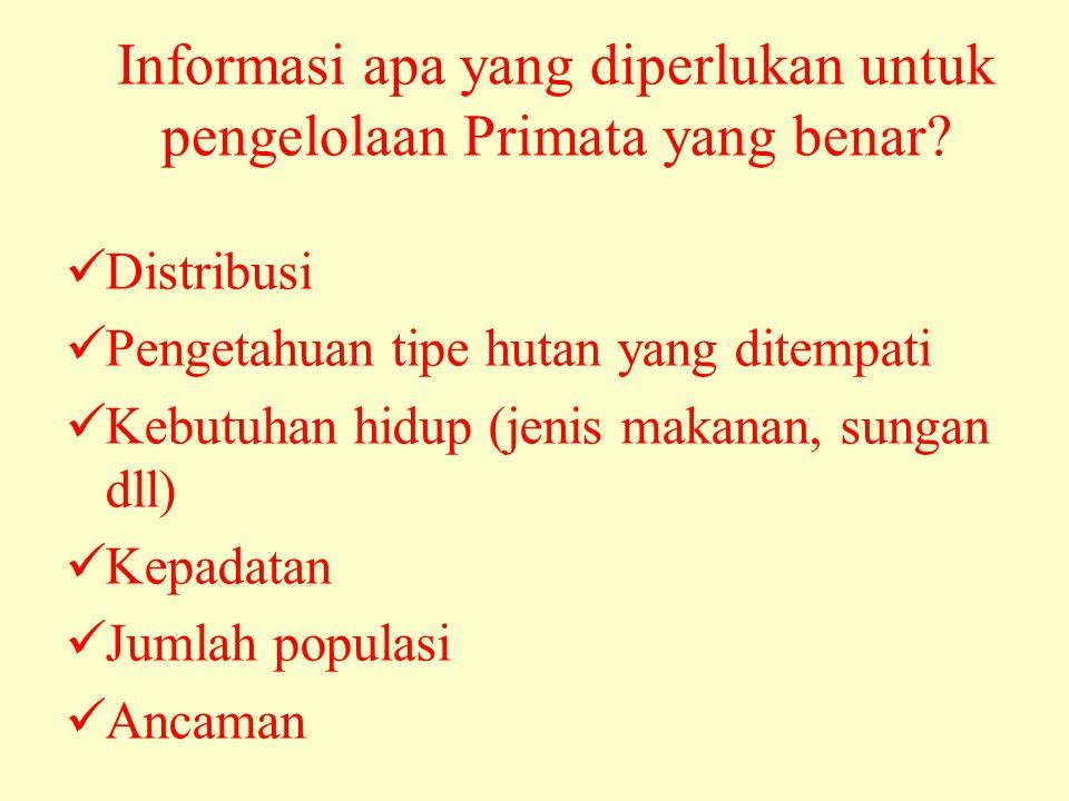 Informasi apa yang diperlukan untuk pengelolaan Primata yang benar.