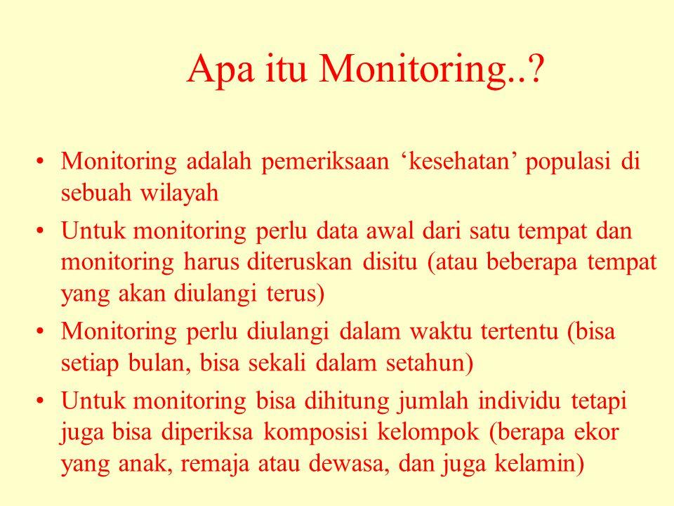 Apa itu Monitoring..? •Monitoring adalah pemeriksaan 'kesehatan' populasi di sebuah wilayah •Untuk monitoring perlu data awal dari satu tempat dan mon