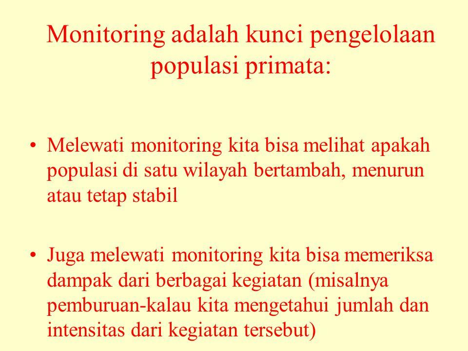 Monitoring adalah kunci pengelolaan populasi primata: •Melewati monitoring kita bisa melihat apakah populasi di satu wilayah bertambah, menurun atau tetap stabil •Juga melewati monitoring kita bisa memeriksa dampak dari berbagai kegiatan (misalnya pemburuan-kalau kita mengetahui jumlah dan intensitas dari kegiatan tersebut)