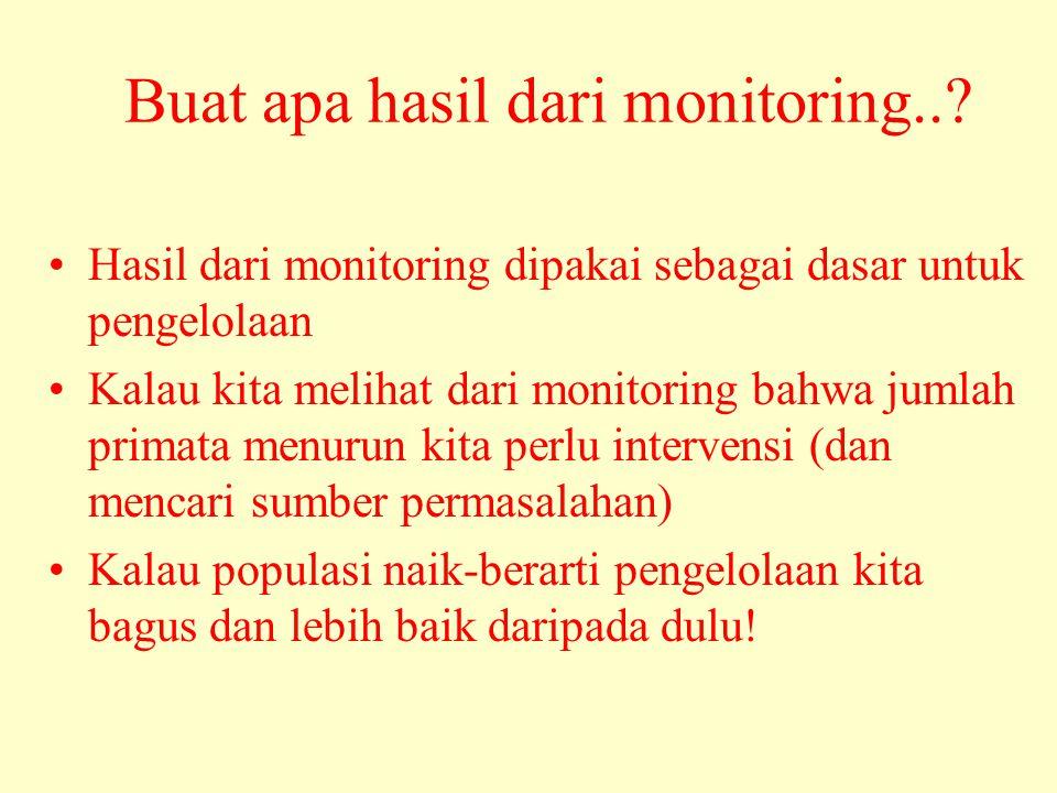 Buat apa hasil dari monitoring..? •Hasil dari monitoring dipakai sebagai dasar untuk pengelolaan •Kalau kita melihat dari monitoring bahwa jumlah prim