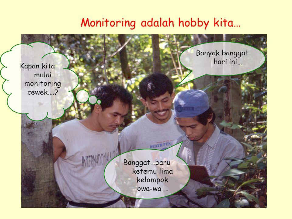 Kapan kita mulai monitoring cewek….? Banggat…baru ketemu lima kelompok owa-wa…. Banyak banggat hari ini… Monitoring adalah hobby kita…