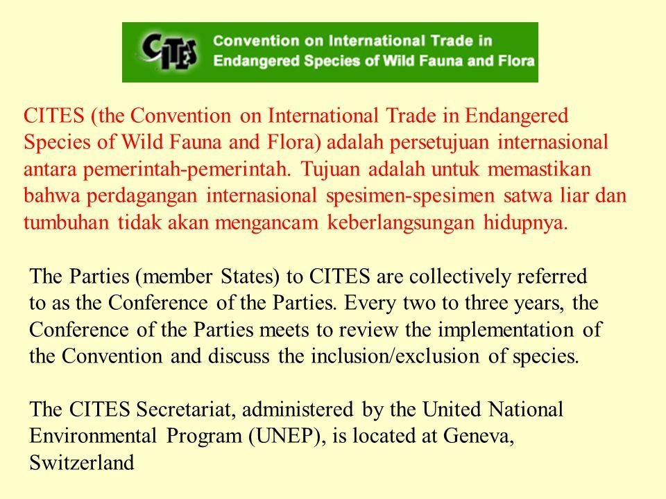 CITES (the Convention on International Trade in Endangered Species of Wild Fauna and Flora) adalah persetujuan internasional antara pemerintah-pemerintah.