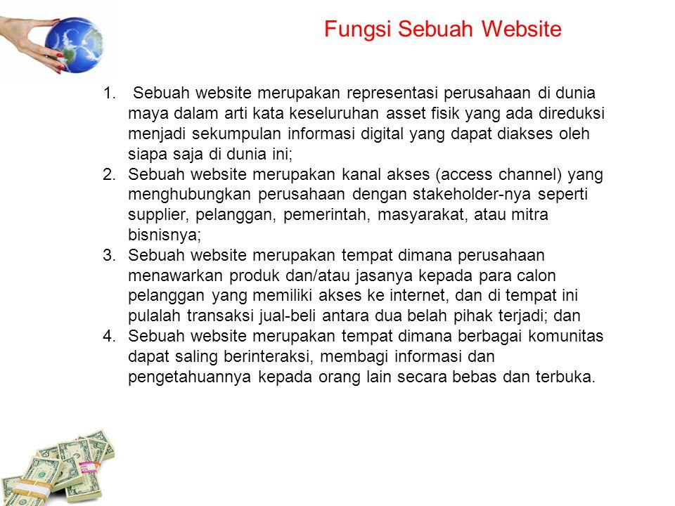 Fungsi Sebuah Website 1. Sebuah website merupakan representasi perusahaan di dunia maya dalam arti kata keseluruhan asset fisik yang ada direduksi men