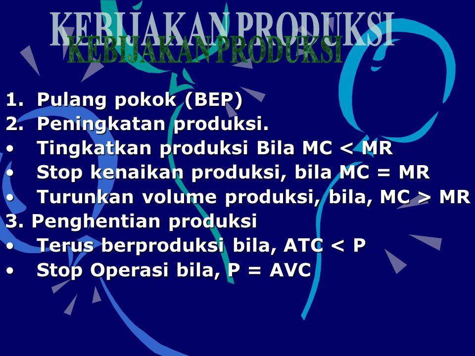 1.Pulang pokok (BEP) 2.Peningkatan produksi. •Tingkatkan produksi Bila MC < MR •Stop kenaikan produksi, bila MC = MR •Turunkan volume produksi, bila,