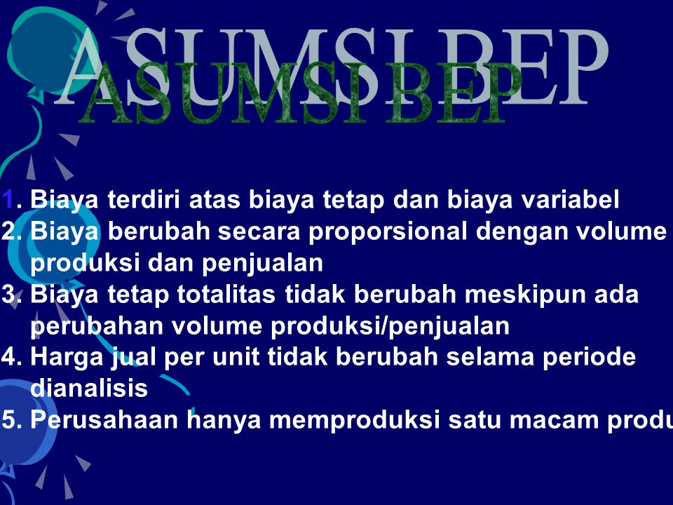 •BEP Single Product •BEP Multi Product