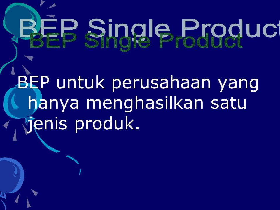 BEP untuk perusahaan yang hanya menghasilkan satu jenis produk.