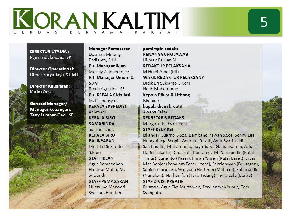 5 DIREKTUR UTAMA : Fajri Tridalaksana, SP Direktur Operasional: Dimas Surya Jaya, ST, MT Direktur Keuangan: Karim Oase General Manager/ Manager Keuang