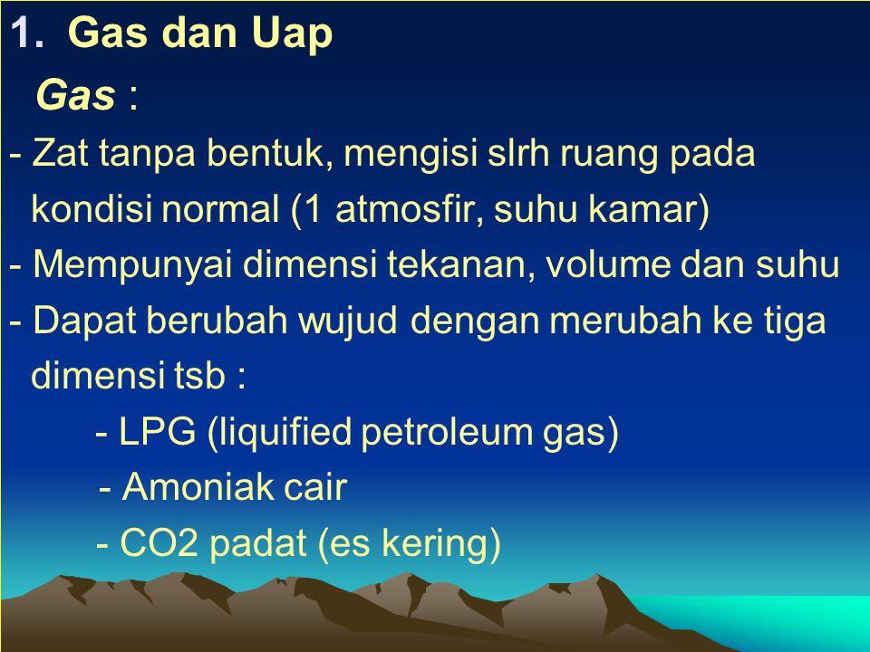 1.Gas dan Uap Gas : - Zat tanpa bentuk, mengisi slrh ruang pada kondisi normal (1 atmosfir, suhu kamar) - Mempunyai dimensi tekanan, volume dan suhu - Dapat berubah wujud dengan merubah ke tiga dimensi tsb : - LPG (liquified petroleum gas) - Amoniak cair - CO2 padat (es kering)
