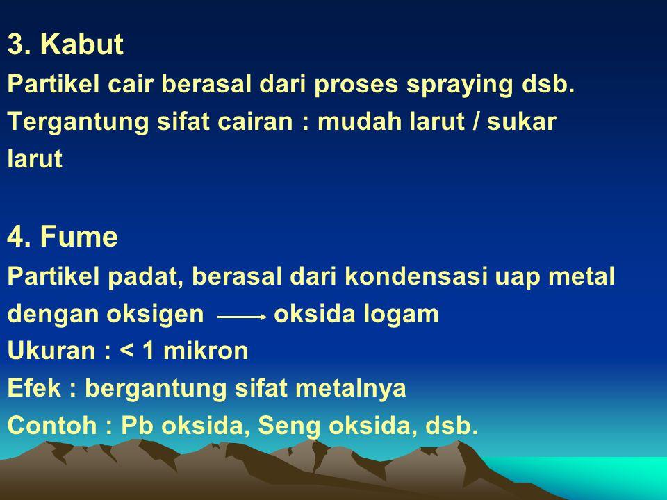 3. Kabut Partikel cair berasal dari proses spraying dsb. Tergantung sifat cairan : mudah larut / sukar larut 4. Fume Partikel padat, berasal dari kond