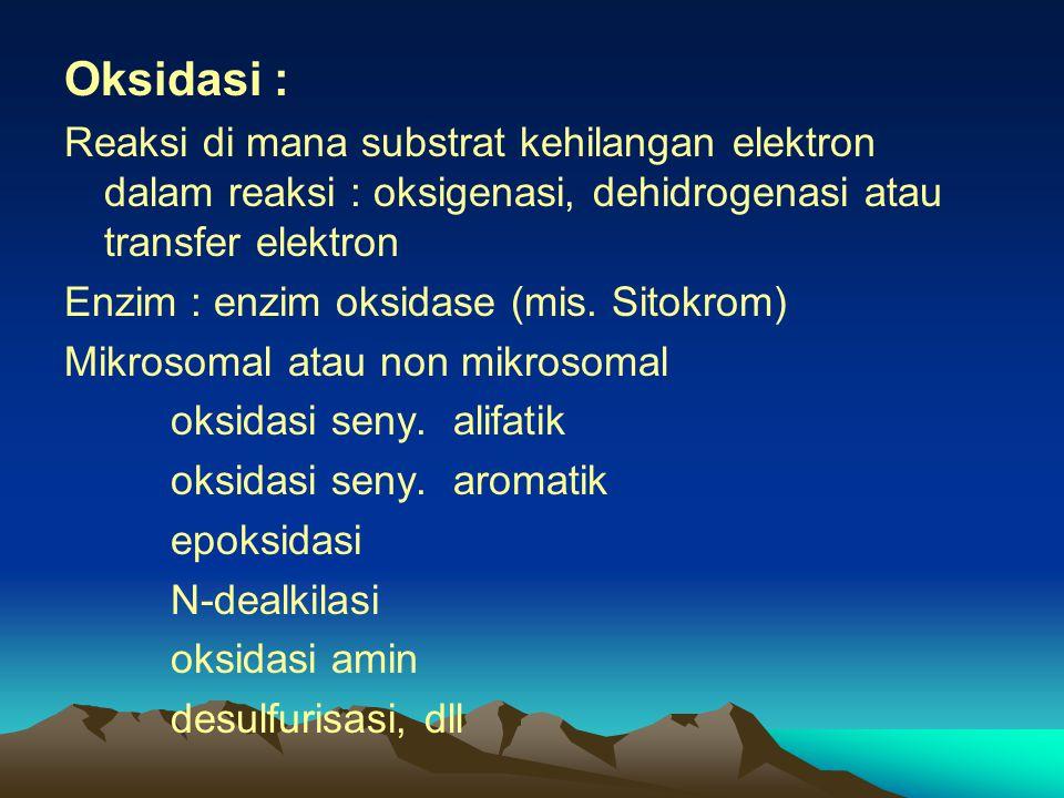 Oksidasi : Reaksi di mana substrat kehilangan elektron dalam reaksi : oksigenasi, dehidrogenasi atau transfer elektron Enzim : enzim oksidase (mis. Si