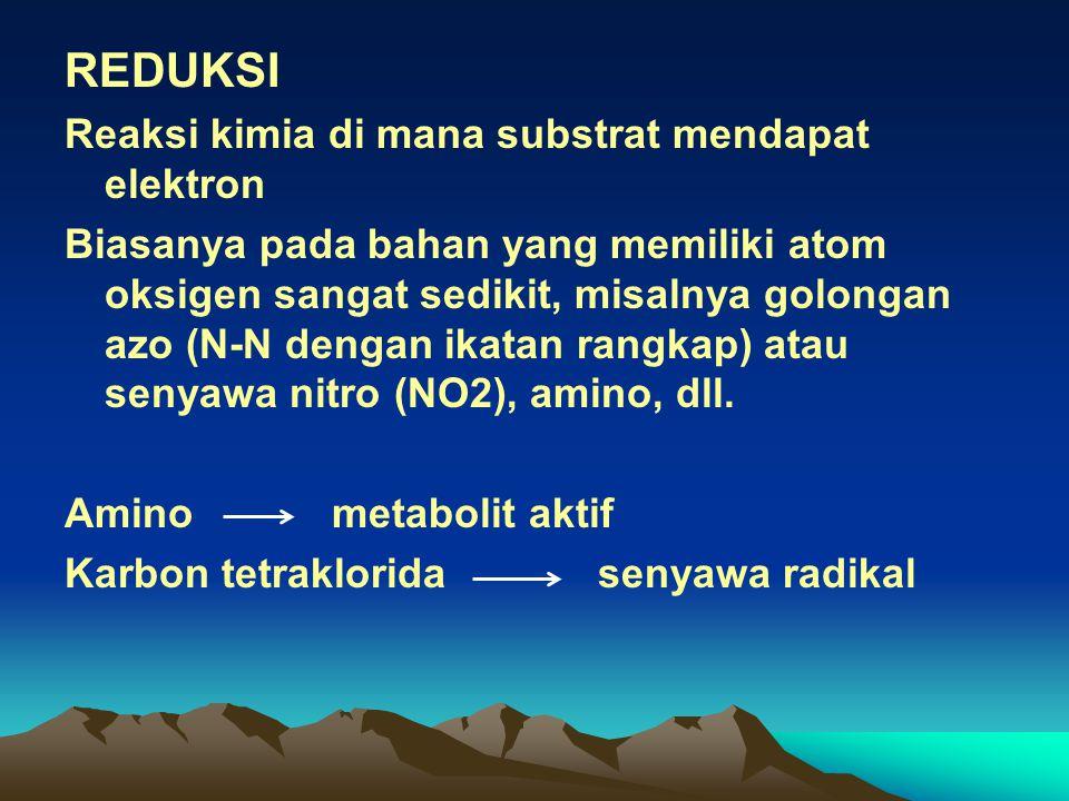 REDUKSI Reaksi kimia di mana substrat mendapat elektron Biasanya pada bahan yang memiliki atom oksigen sangat sedikit, misalnya golongan azo (N-N dengan ikatan rangkap) atau senyawa nitro (NO2), amino, dll.