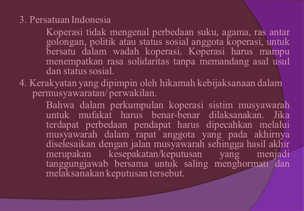 Pancasila merupakan landasan koperasi: 1. Ketuhanan Yang Maha Esa dimana keanggotaan koperasi Indonesia terbuka untuk semua penganut agama/kepercayaan
