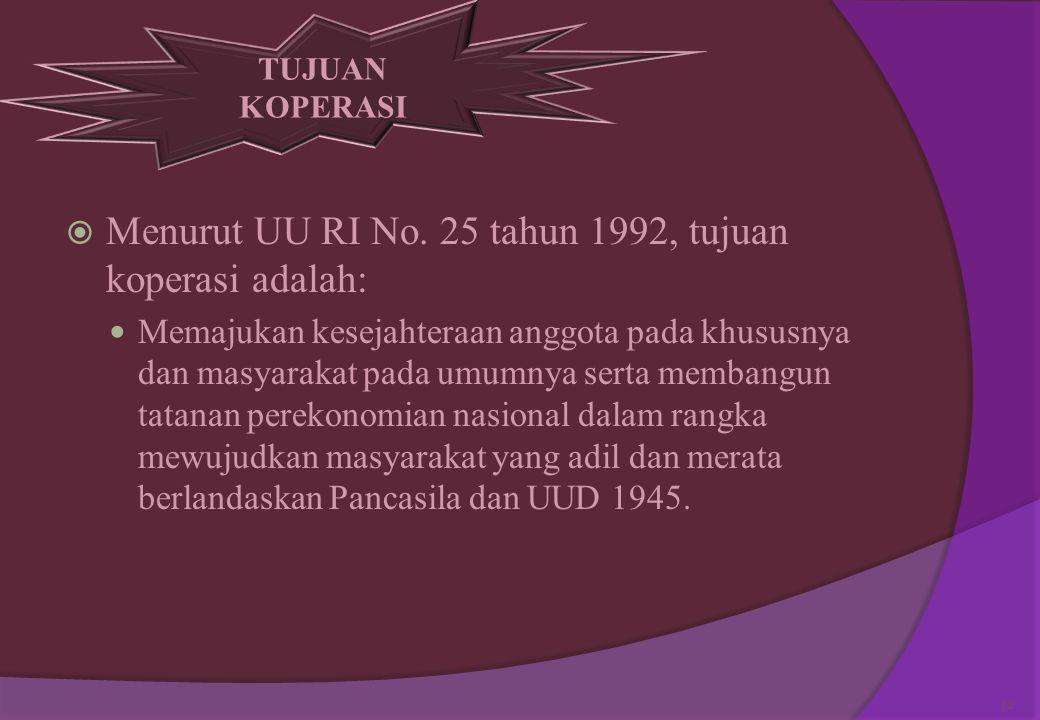 . 5. Keadilan sosial bagi seluruh rakyat Indonesia  bahwa koperasi tidak hanya bekerja untuk kepentingan anggota tetapi juga dapat berperan menunjang