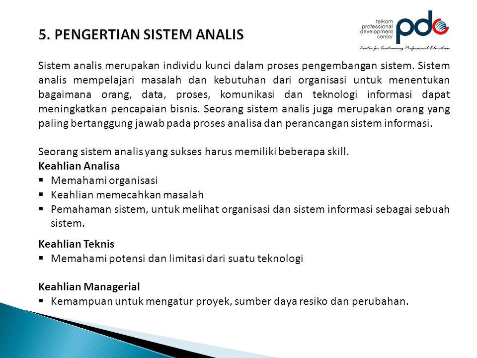 Sistem analis merupakan individu kunci dalam proses pengembangan sistem. Sistem analis mempelajari masalah dan kebutuhan dari organisasi untuk menentu