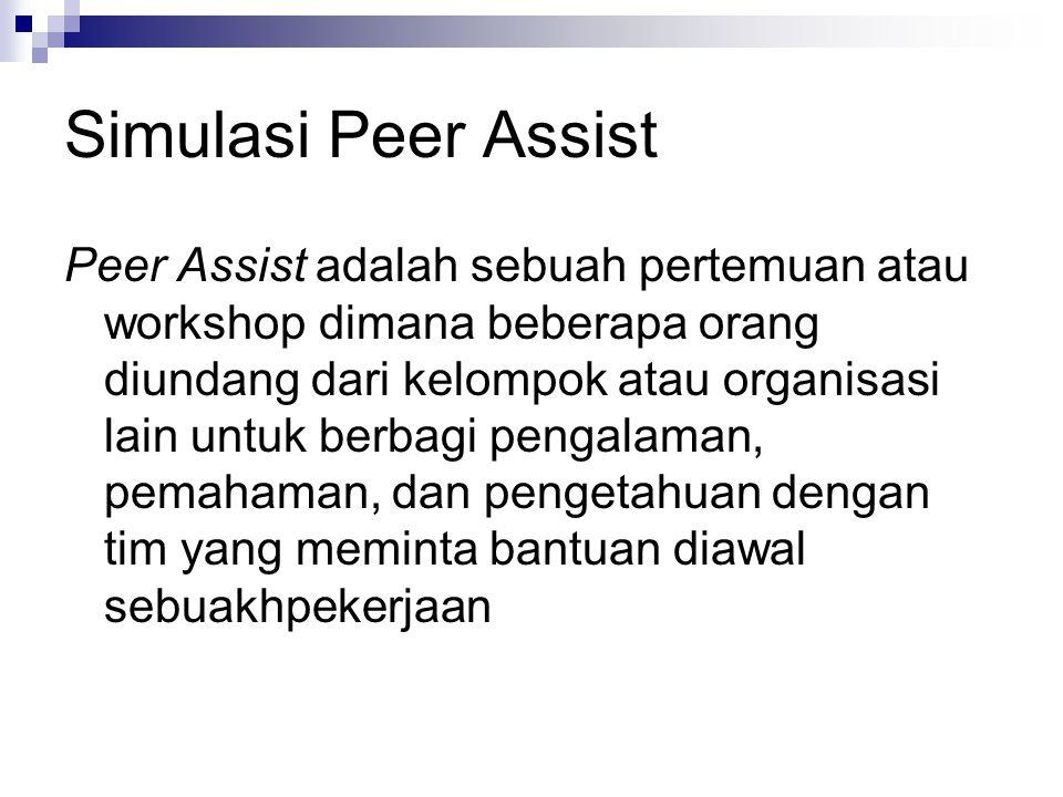 Simulasi Peer Assist Peer Assist adalah sebuah pertemuan atau workshop dimana beberapa orang diundang dari kelompok atau organisasi lain untuk berbagi