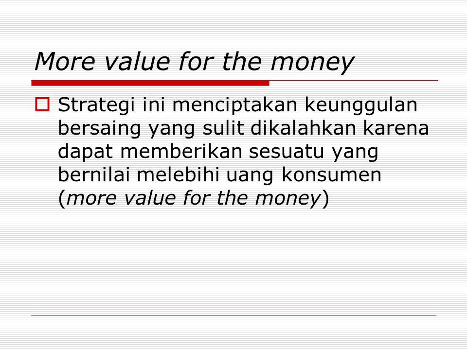 More value for the money  Strategi ini menciptakan keunggulan bersaing yang sulit dikalahkan karena dapat memberikan sesuatu yang bernilai melebihi uang konsumen (more value for the money)