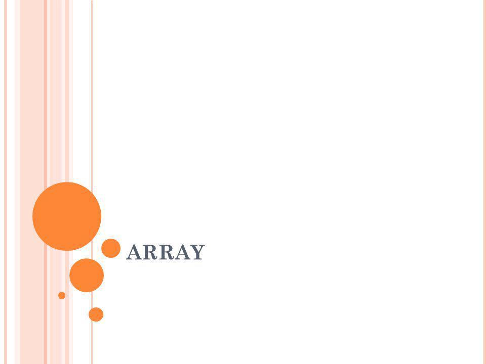 Array merupakan koleksi data dimana setiap elemen memakai nama yang sama dan bertipe sama dan setiap elemen diakses dengan membedakan index array-nya.