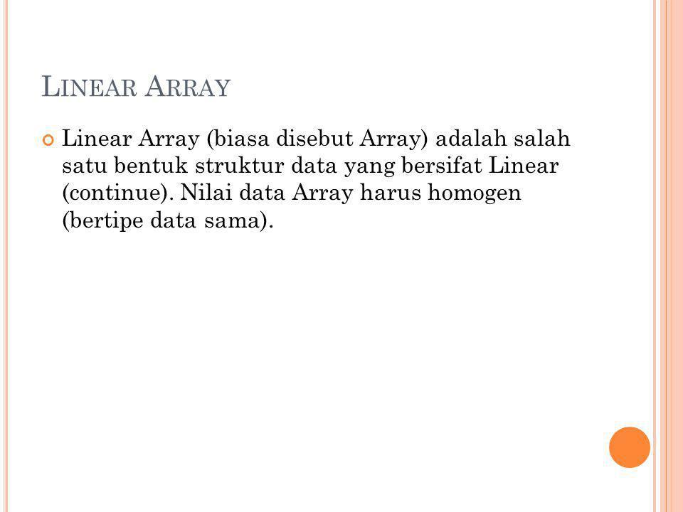 L INEAR A RRAY Linear Array (biasa disebut Array) adalah salah satu bentuk struktur data yang bersifat Linear (continue). Nilai data Array harus homog