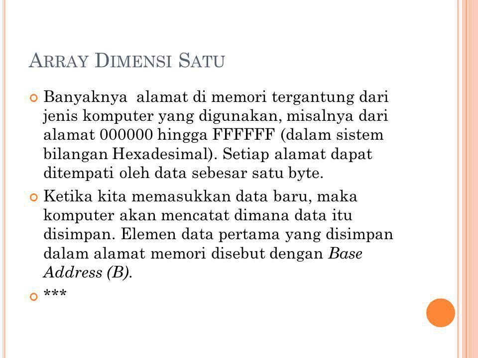 A RRAY D IMENSI S ATU Jika kita memiliki 20 nilai data dalam variabel ber- subscript A yang masing-masing memerlukan 8 byte data dan base addressnya di 1000 berada di alamat berapakah mulainya nilai data A yang ke-18 disimpan?