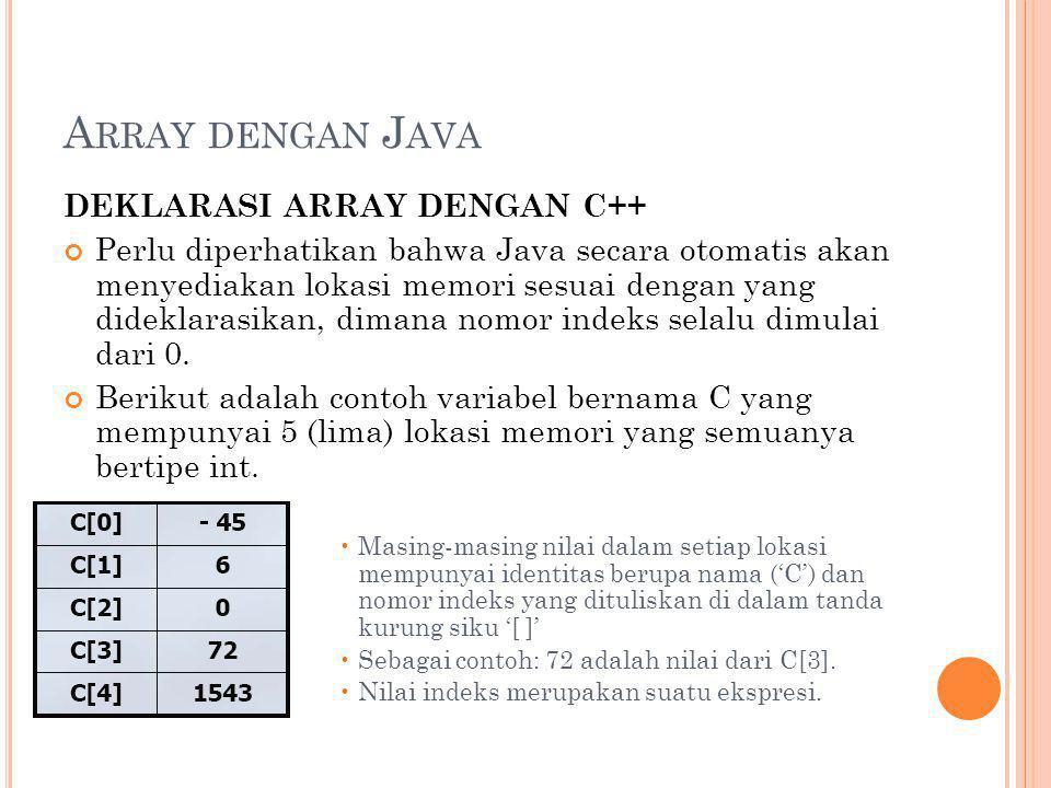 A RRAY DENGAN J AVA DEKLARASI ARRAY DENGAN C++ Perlu diperhatikan bahwa Java secara otomatis akan menyediakan lokasi memori sesuai dengan yang didekla