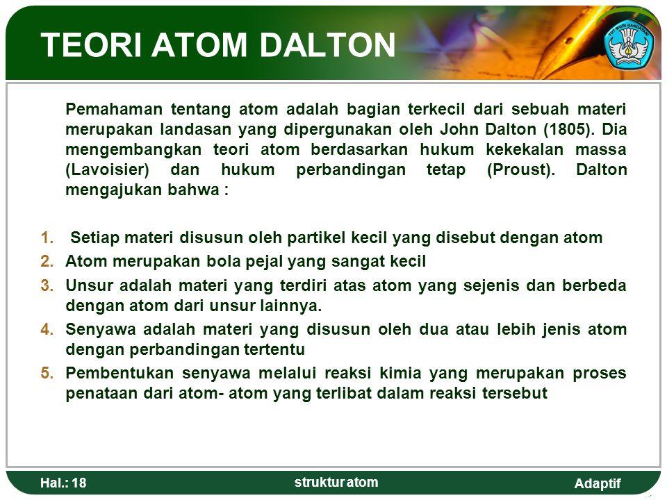 Adaptif Hal.: 18 struktur atom TEORI ATOM DALTON Pemahaman tentang atom adalah bagian terkecil dari sebuah materi merupakan landasan yang dipergunakan