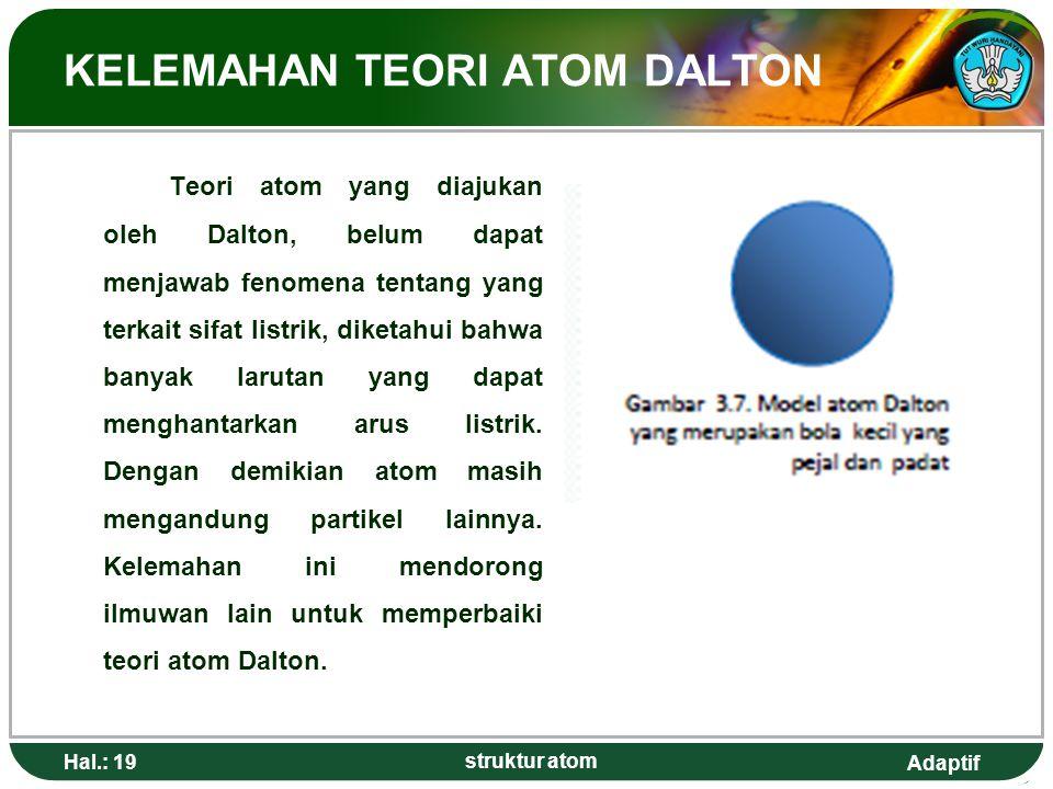 Adaptif Hal.: 19 struktur atom KELEMAHAN TEORI ATOM DALTON Teori atom yang diajukan oleh Dalton, belum dapat menjawab fenomena tentang yang terkait sifat listrik, diketahui bahwa banyak larutan yang dapat menghantarkan arus listrik.