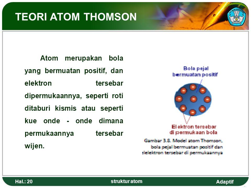 Adaptif Hal.: 20 struktur atom TEORI ATOM THOMSON Atom merupakan bola yang bermuatan positif, dan elektron tersebar dipermukaannya, seperti roti ditab
