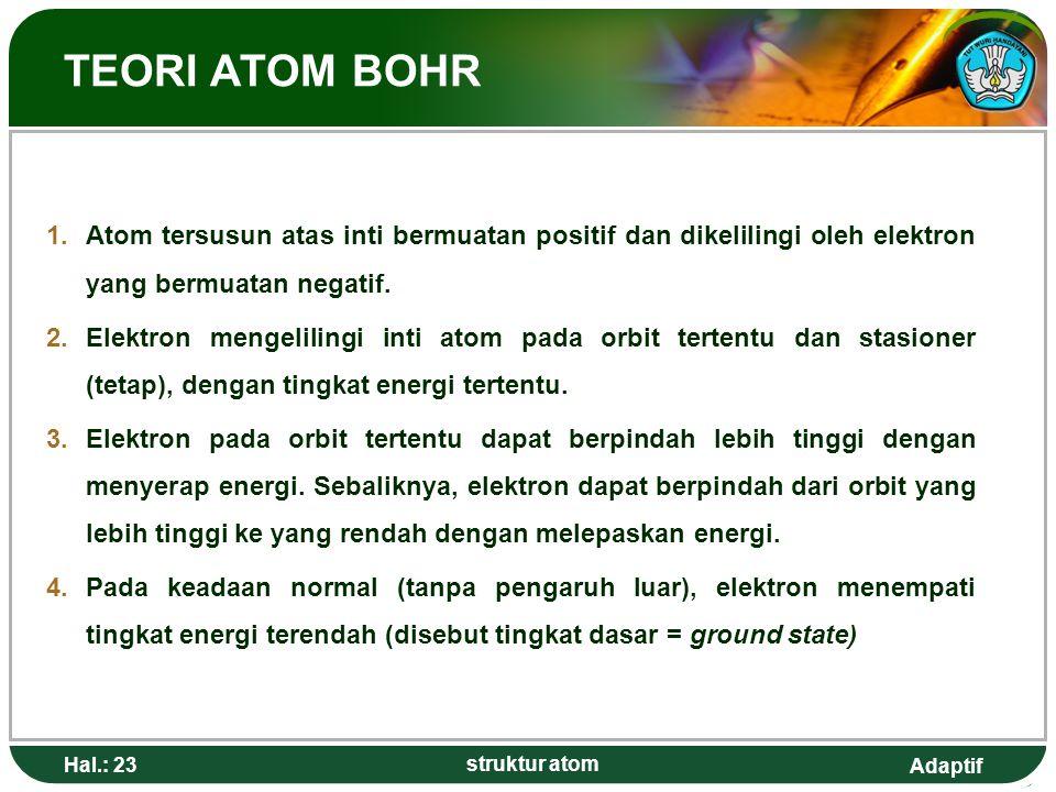 Adaptif TEORI ATOM BOHR 1.Atom tersusun atas inti bermuatan positif dan dikelilingi oleh elektron yang bermuatan negatif. 2.Elektron mengelilingi inti