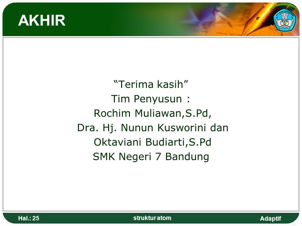 "Adaptif AKHIR ""Terima kasih"" Tim Penyusun : Rochim Muliawan,S.Pd, Dra. Hj. Nunun Kusworini dan Oktaviani Budiarti,S.Pd SMK Negeri 7 Bandung Hal.: 25 s"