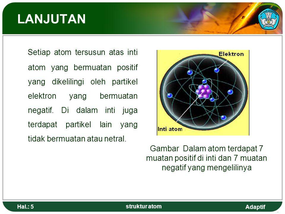 Adaptif Hal.: 5 struktur atom LANJUTAN Setiap atom tersusun atas inti atom yang bermuatan positif yang dikelilingi oleh partikel elektron yang bermuat