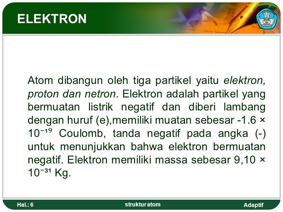 Adaptif Hal.: 17 struktur atom PERKEMBANGAN TEORI ATOM Atom berasal dari atomos bahasa Yunani yang berarti tidak dapat dibagi- bagi lagi.