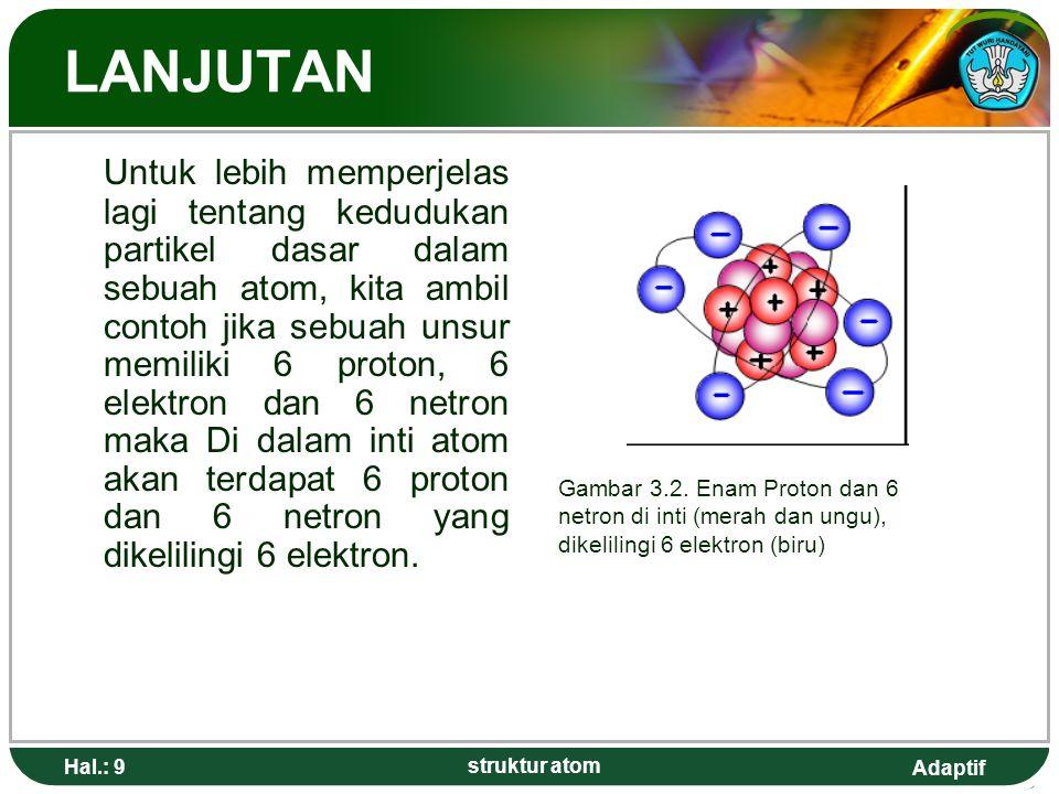Adaptif Hal.: 9 struktur atom LANJUTAN Untuk lebih memperjelas lagi tentang kedudukan partikel dasar dalam sebuah atom, kita ambil contoh jika sebuah unsur memiliki 6 proton, 6 elektron dan 6 netron maka Di dalam inti atom akan terdapat 6 proton dan 6 netron yang dikelilingi 6 elektron.