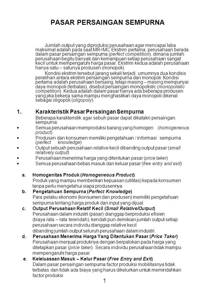 2.Permintaan dan Penawaran Dalam Pasar Persaingan Sempurna a.