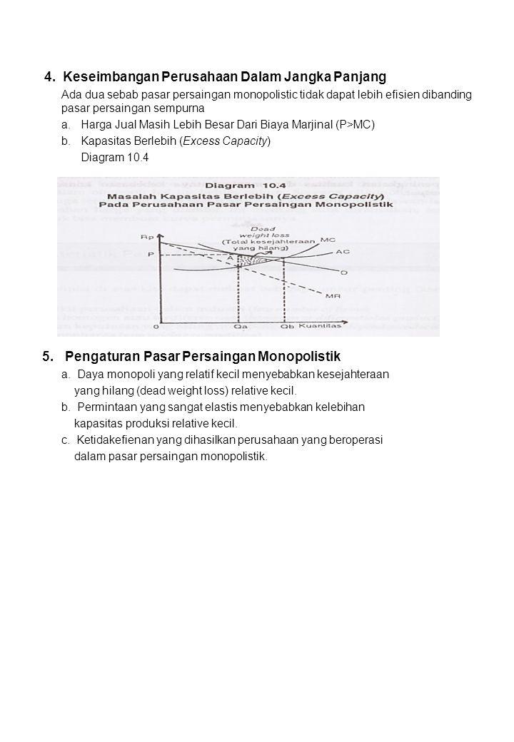 4. Keseimbangan Perusahaan Dalam Jangka Panjang Ada dua sebab pasar persaingan monopolistic tidak dapat lebih efisien dibanding pasar persaingan sempu