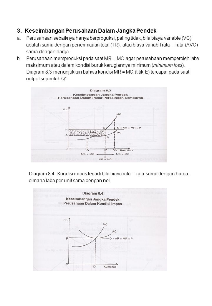 3. Keseimbangan Perusahaan Dalam Jangka Pendek a. Perusahaan sebaiknya hanya berproguksi, paling tidak, bila biaya variable (VC) adalah sama dengan pe