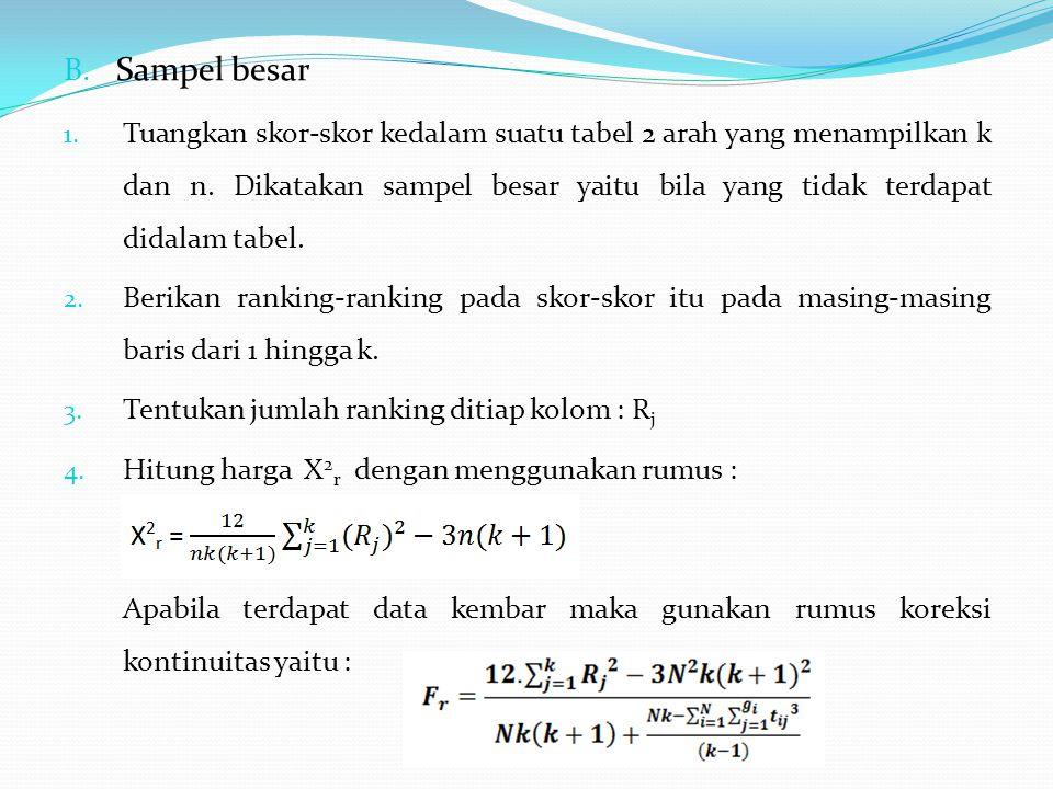 B. Sampel besar 1. Tuangkan skor-skor kedalam suatu tabel 2 arah yang menampilkan k dan n. Dikatakan sampel besar yaitu bila yang tidak terdapat didal