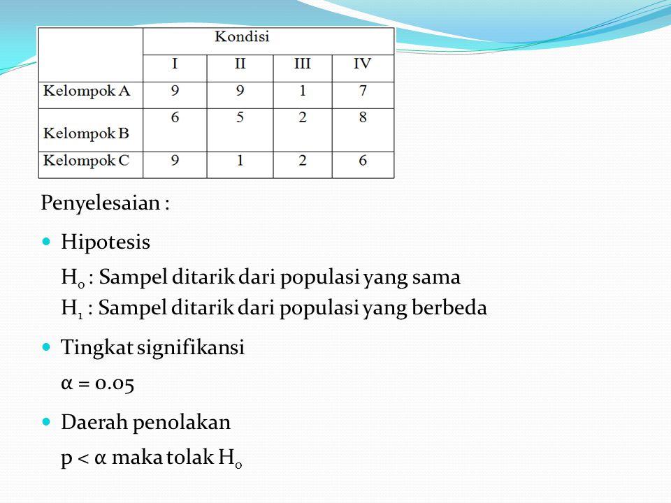 Penyelesaian :  Hipotesis H o : Sampel ditarik dari populasi yang sama H 1 : Sampel ditarik dari populasi yang berbeda  Tingkat signifikansi α = 0.0